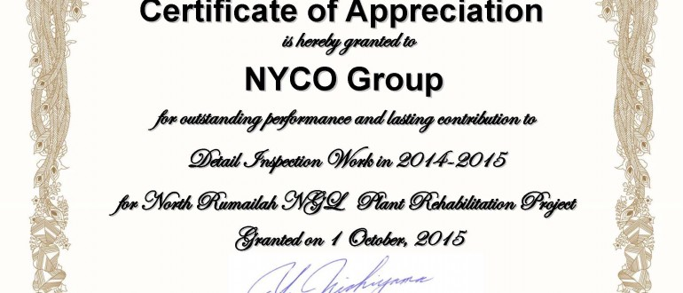 Certificate of Appreciation from CHIYODA