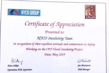Appriciated Certificate From our Client TAQA